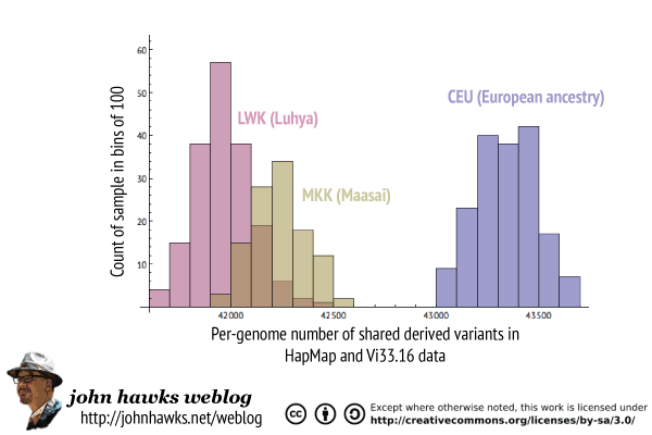Comparison of shared Neandertal derived variants in CEU, LWK and MKK samples