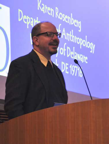 John Hawks introducing Karen Rosenberg lecture, Darwin Day, 2011