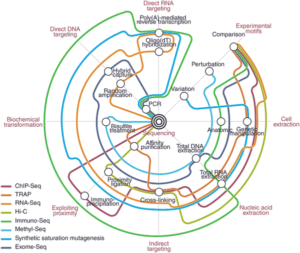 Subway map view of sequencing technology and applications, from Shendure and Aiden 2012