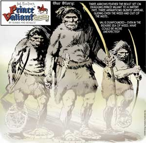 Neandertals emerging from the mist, from Prince Valiant