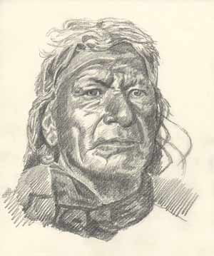 Sketch of Stands First, Ogalala, from a print by Edward Curtis
