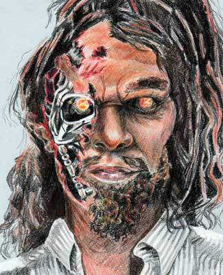Yes, it's a Geico caveman morphed into the ultimate robot assassin from the