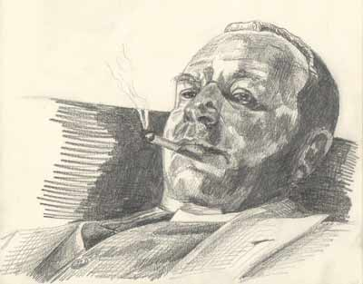Drawing of Wallace Beery, seated