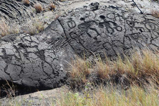 Human figure petroglyphs from Hawaii Volcanoes National Park