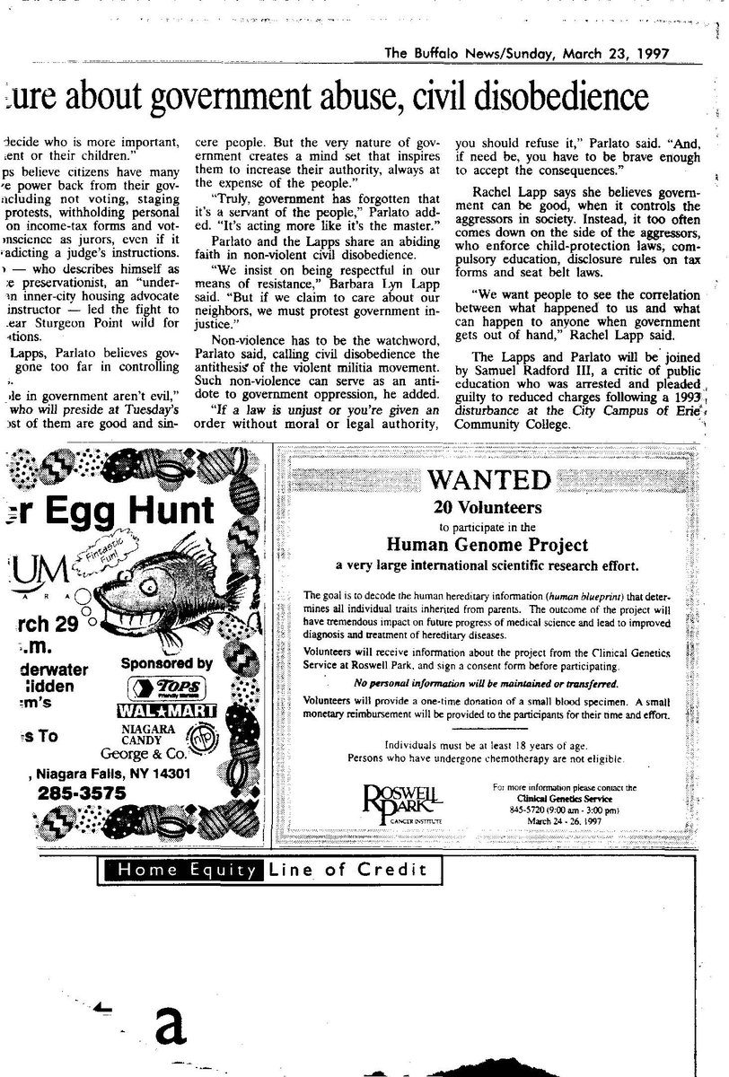 Buffalo News ad for Human Genome Project