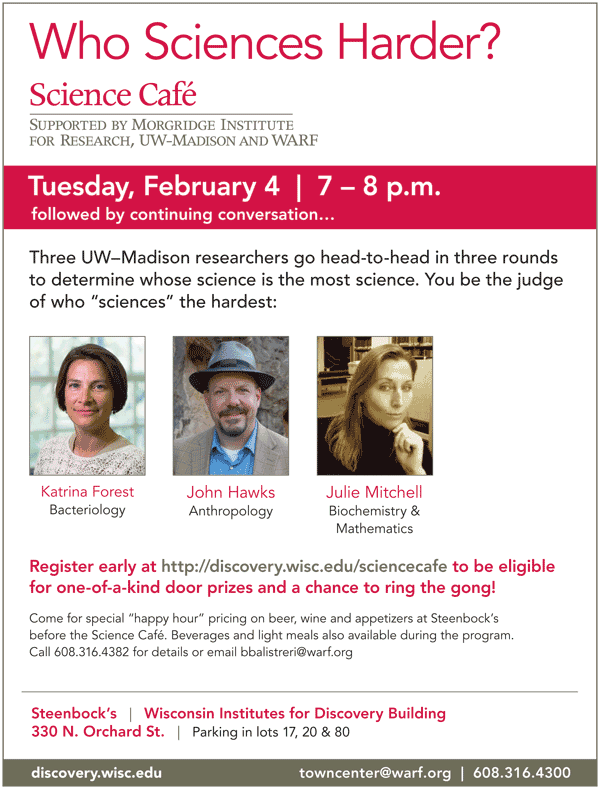 Flyer for Science Cafe