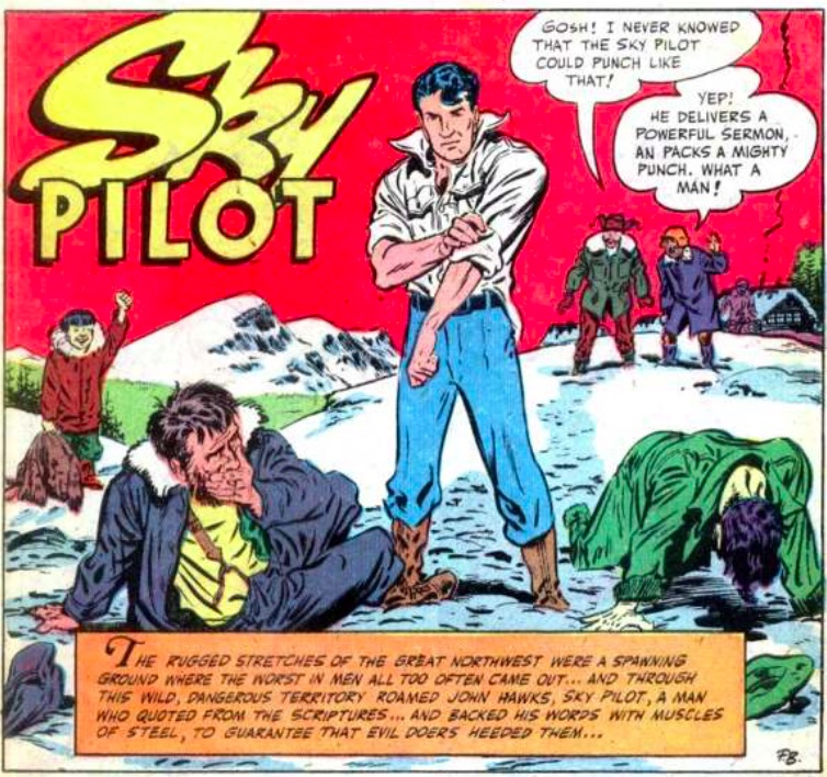 First panel of 'Sky Pilot', featuring John Hawks