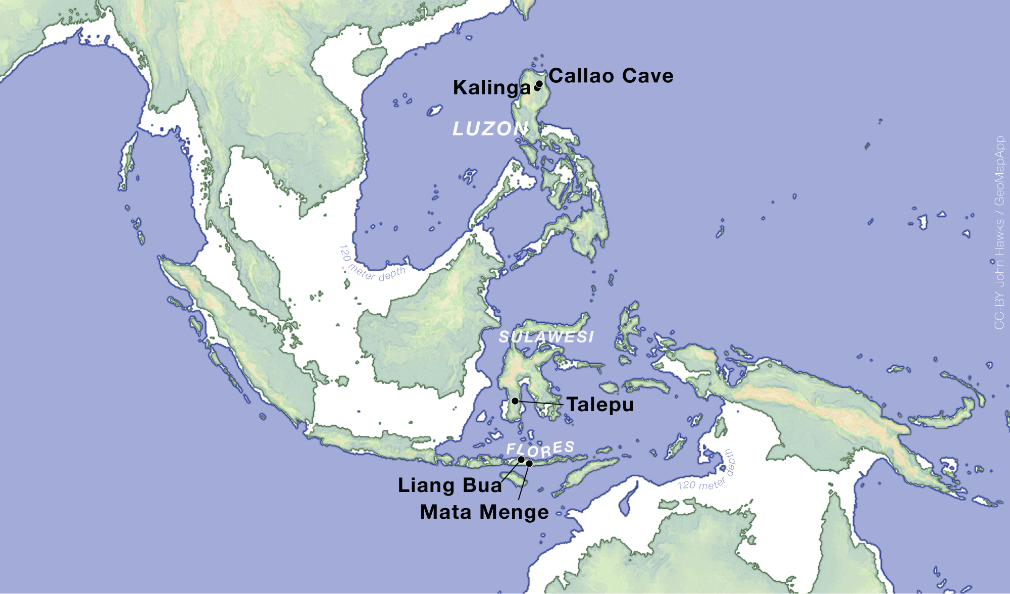 Map of island southeast Asia indicating sites discussed in the text